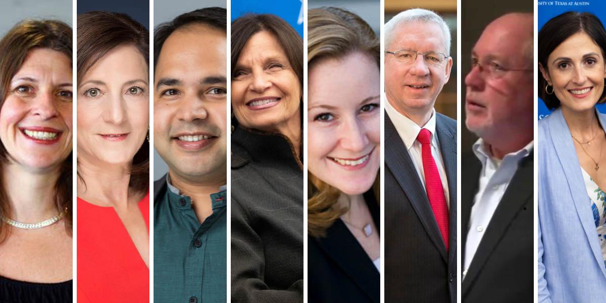 Eight LBJ School faculty who will be at NASPAA 2019: Jenny Knowles Morrison, Sherri Greenberg, Varun Rai, Dean Angela Evans, Kate Weaver, Don Kettl, Bill Shute, Victoria DeFrancesco Soto