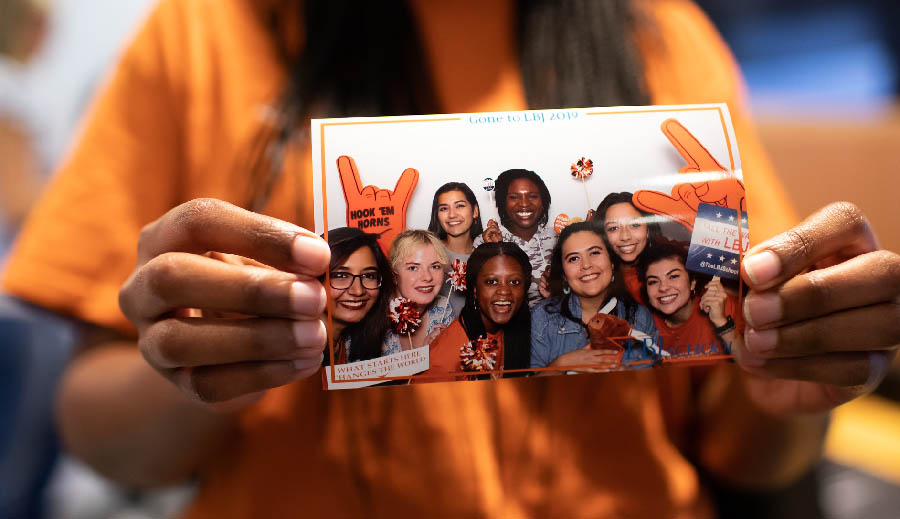 Students from the 2019–20 LBJ cohort pose in a photo booth at Gone to Texas 2019