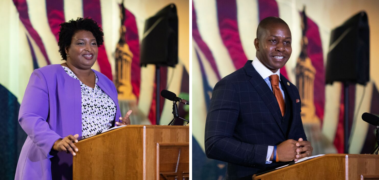 Stacey Abrams (MPAff '98), recipient of the 2019 Distinguished Public Service Award, and Rudy Metayer (EMPL '16), recipient of the 2019 Rising Leader Award