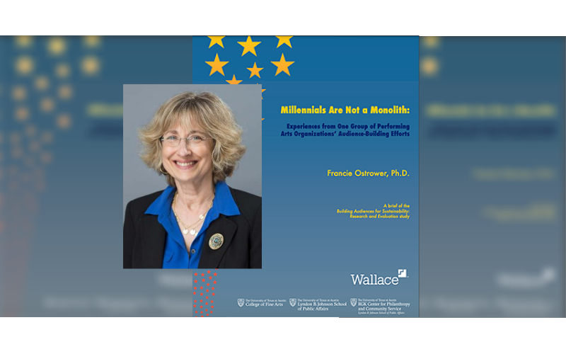 Francie Ostrower and the cover of her Wallace Foundation report on Millennials and arts orgs