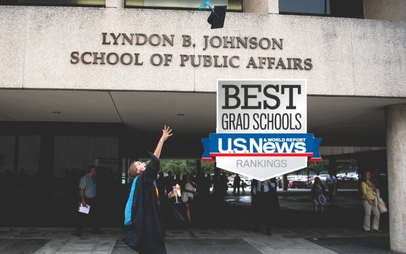 An LBJ graduate tosses her mortarboard into the air on commencement day