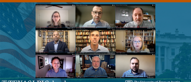 9 screenshots of women and men during a webinar of LBJ School faculty on President Biden's first 100 days