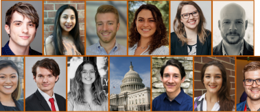 Collage of 12 headshots and one of the US Capitol