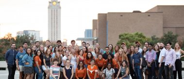 Members of the LBJ 2019-20 cohort with the UT Tower in the background at Gone to Texas 2019