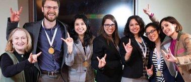 2019 NASPAA Simulation — Team LBJ with Professors Ruth Wasem (far left) and Victoria DeFrancesco Soto (far right)